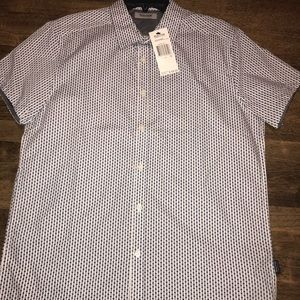 Reaction by Kenneth Cole Men's NavyWhite S/S Med